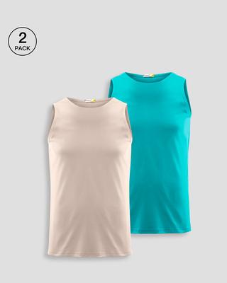 Shop Men's Plain Round Neck Vest Pack of 2 (Beige & Tropical Blue)-Front