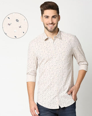 Shop Beige Cotton Melange Shirt-Front