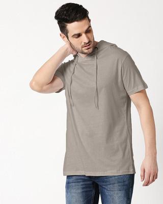 Shop Beige Grey Half Sleeve Hoodie T-Shirt-Front