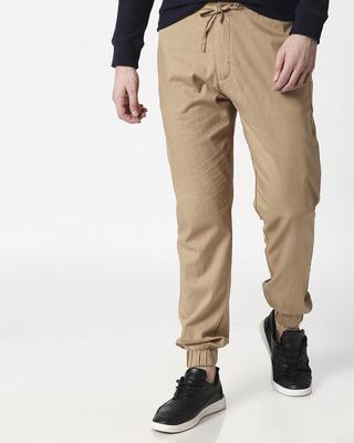 Shop Desert Beige Cotton Jogger Pants-Front