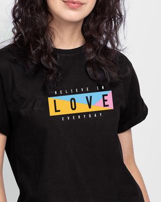 Shop Believe In Love Boyfriend T-Shirt-Front