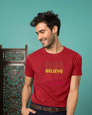 Shop Believe In Yourself Half Sleeve T-Shirt Bold Red-Front
