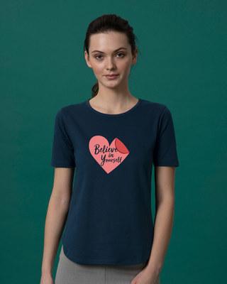 Shop Believe Sticker Basic Round Hem T-Shirt-Front