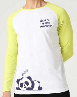 Shop Best Motivation Full Sleeve Raglan T-Shirt White-Neo Mint -Front