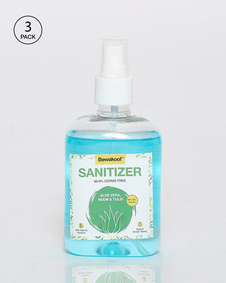 Shop Bewakoof Aloe Vera,Neem & Tulsi Hand Sanitizer (250 ml) Pack of 3-Front