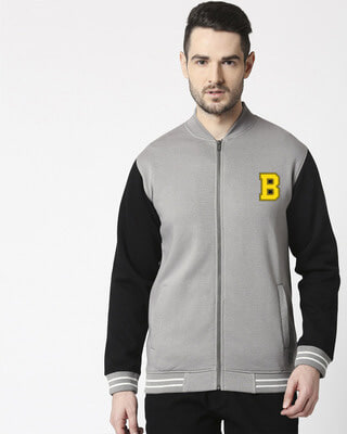 Shop Bewakoof Badge Varsity Bomber Jacket-Front
