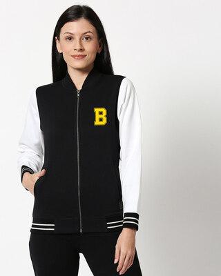 Shop Bewakoof Badge Varsity Bomber Jacket-Front