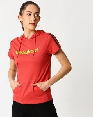 Shop Bewakoof Color Half Sleeve Printed Hoodie T-Shirt-Front