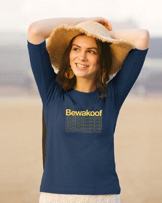 Shop Bewakoof Frames Round Neck 3/4 Sleeve T-Shirts-Front