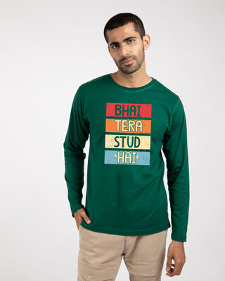 Shop Bhai Tera Stud Hai Full Sleeve T-Shirt-Front