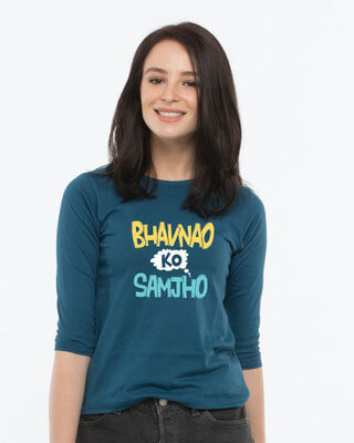 Shop Bhavanaye Round Neck 3/4th Sleeve T-Shirt-Front