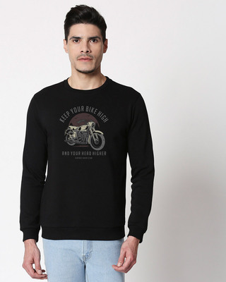 Shop Bike High Head Higher Fleece Sweater Black-Front
