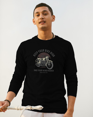 Shop Bike High Head Higher Full Sleeve T-Shirt Black-Front