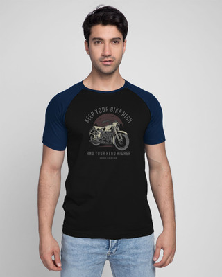 Shop Bike High Head Higher Half Sleeve Raglan T-Shirt Navy Blue-Black-Front