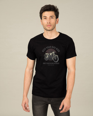 Shop Bike High Head Higher Half Sleeve T-Shirt Black-Front