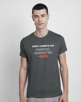 Shop Binod Half Sleeve T-Shirt - Nimbus Grey-Front