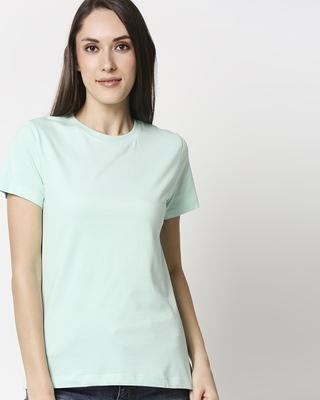 Shop Bird Egg Green Half Sleeve Relaxed Fit T-Shirt-Front