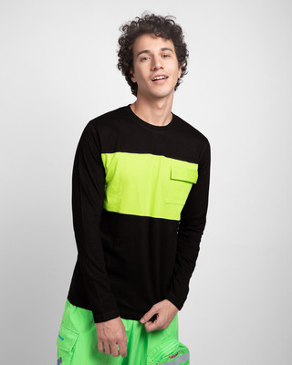 Shop Black & Neon Green 90's Vibe Cargo Pocket T-Shirt-Front
