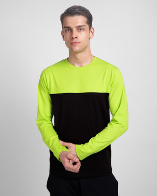 Shop Black & Neon Green 90's Vibe Panel T-Shirt-Front