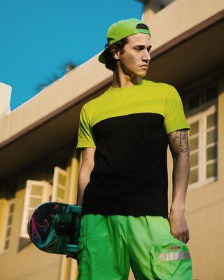 Shop Black & Neon Green 90's Vibe Panel T-Shirt-Front