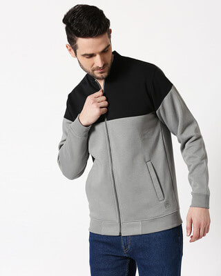 Shop Black - Neutral Grey Panel Zipper Bomber Jacket-Front