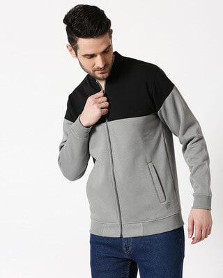 Shop Black - Neutral Grey Panel Zipper Bomber Jacket-Front