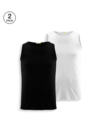 Shop Men's Plain Round Neck Vest Pack of 2 (Black & White)-Front