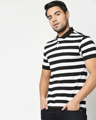 Shop Black & WhiteHalf Sleeve Stripes Polo-Front