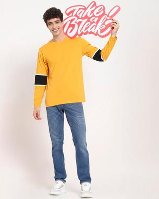 Shop Popcorn Yellow Sleeve Panel T-Shirt-Front