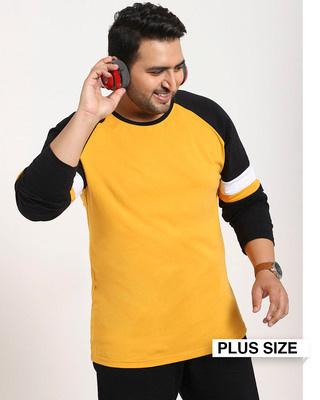 Shop Popcorn Yellow Raglan Sleeve Sports Trim T-Shirt-Front