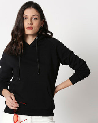 Shop Black Basic Hoodie Sweatshirt-Front