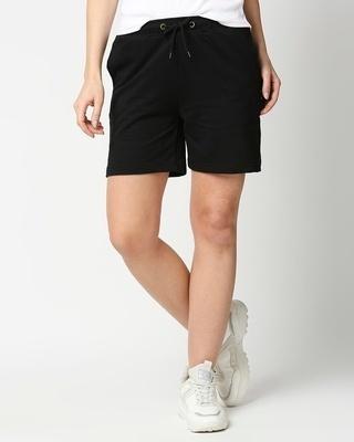 Shop Black Basic Shorts-Front