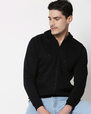 Shop Black Basic Zipper Hoodie-Front