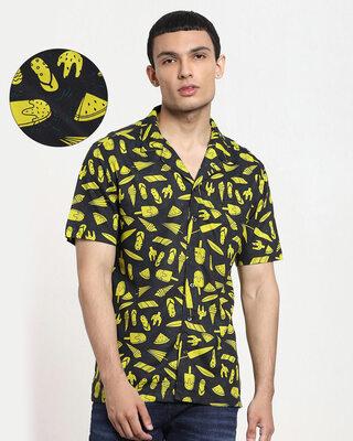 Shop Black Beach AOP Half Sleeve Shirt-Front