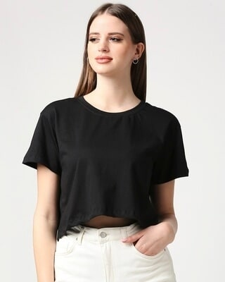 Shop Black Boxy Crop Top-Front