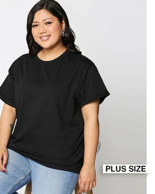 Shop Black Boyfriend Plus Size T-Shirt-Front