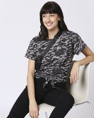 Shop Black Camo Tie Up Boyfriend T-Shirt-Front