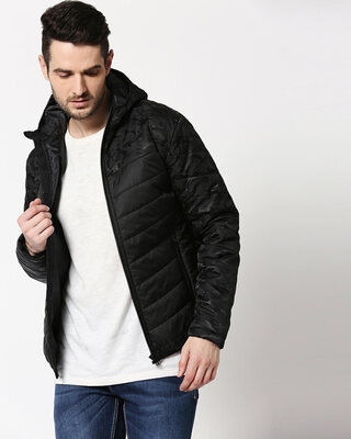 Shop Black Camo Two Block Puffer Jacket-Front