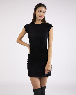 Shop Black Cap Sleeve Plain T-Shirt Dress-Front