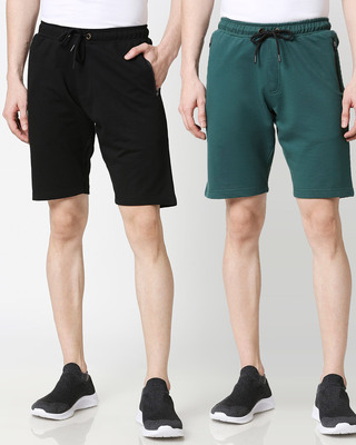 Shop Jet Black Dark Forest Green Zipper Shorts Combo-Front