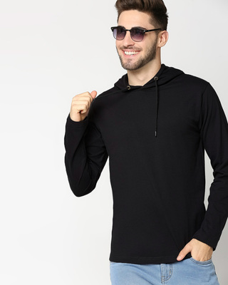 Shop Black Full Sleeve Hoodie T-Shirt-Front