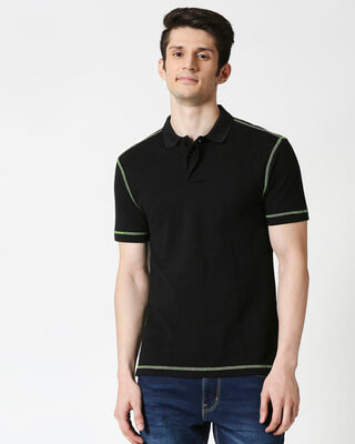 Shop Black Half Sleeve Contrast Polo-Front