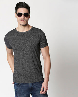 Shop Black Half Sleeve Grindle T-Shirt-Front