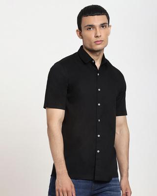 Shop Black Half Sleeve Solid Shirt-Front