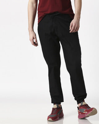 Shop Jet Black Cotton Jogger Pants-Front
