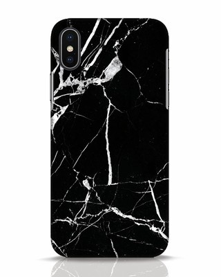 Shop Black Marble iPhone X Mobile Cover-Front