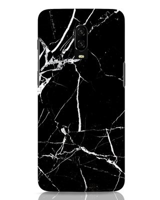 Shop Black Marble OnePlus 6T Mobile Cover-Front
