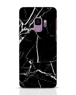 Shop Black Marble Samsung Galaxy S9 Mobile Cover-Front