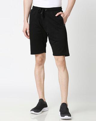 Shop Black Men's Casual Shorts With Zipper NR Plain-Front