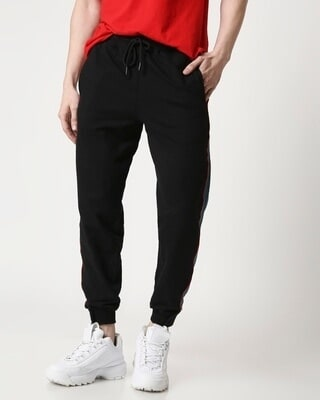 Shop Men Contrast Velcro Detailed Color Block Black Joggers-Front
